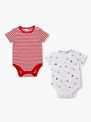 2f720d10e John Lewis & Partners Baby GOTS Organic Cotton Short Sleeve Nautical  Bodysuit, Pack of 2