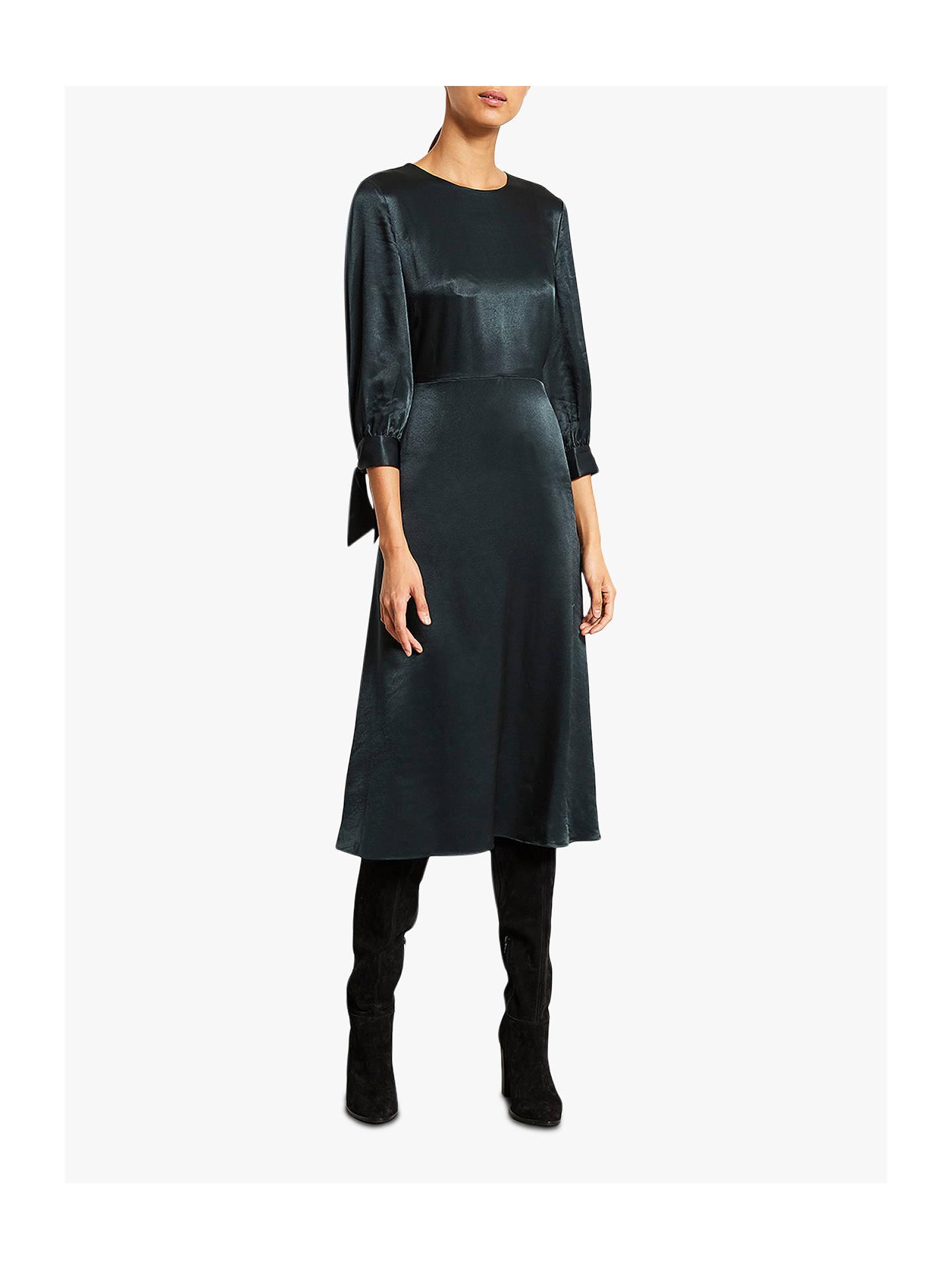 buy sale coupon codes new concept Mint Velvet Satin Midi Dress, Bottle Green at John Lewis & Partners