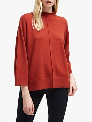 French Connection Ebba Vhari High Neck Rib Trim Jumper, Firewood