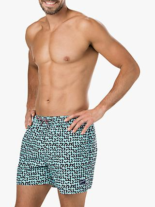 "Speedo Vintage Geometric Print 14"" Swim Shorts, Green"