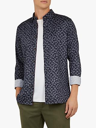 Ted Baker Warrens Paisley Shirt, Navy Blue