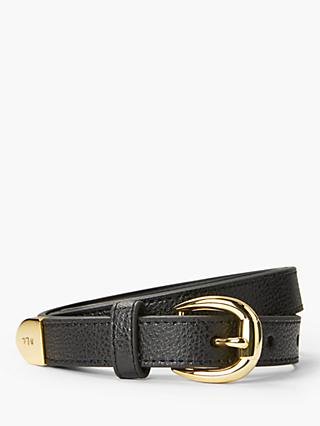 Lauren Ralph Lauren Bennington Pebble Leather Belt, Black