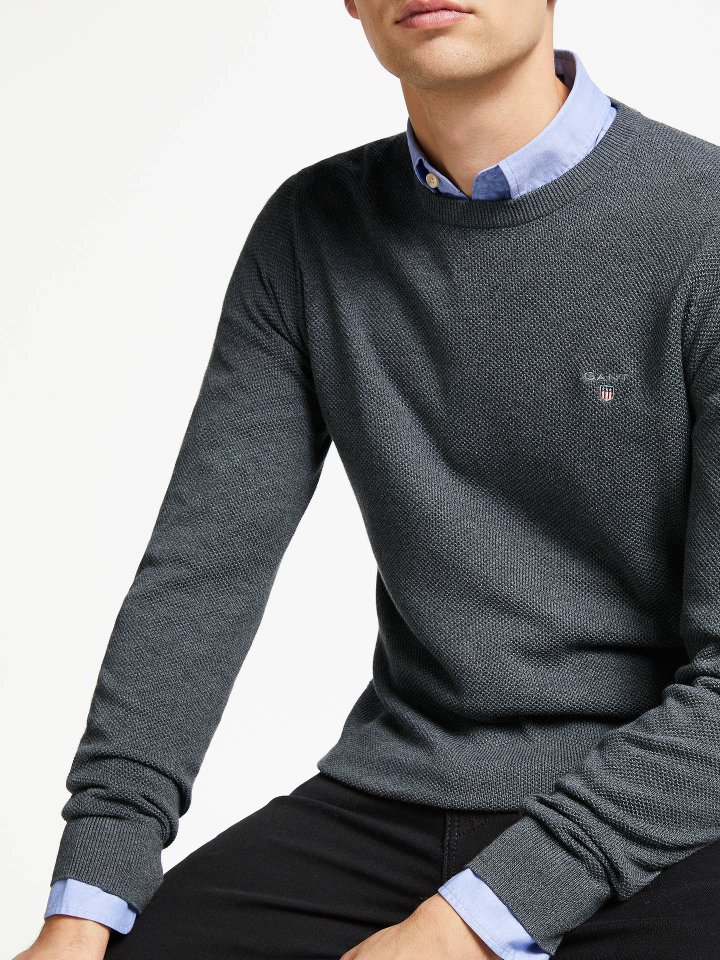 BuyGANT Cotton Pique Crew Neck Jumper, Charcoal, S Online at johnlewis.com