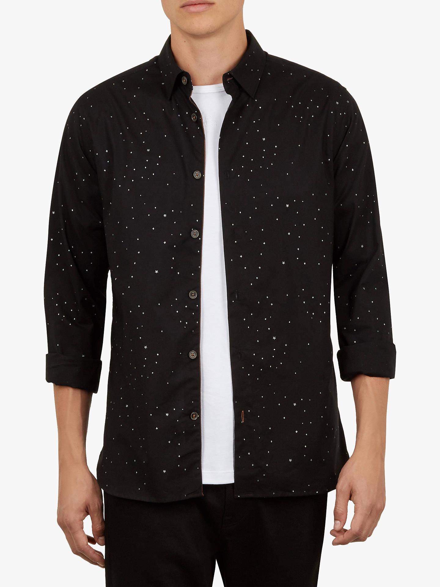 44827cafe1e Buy Ted Baker Nooley Star Print Shirt, Black, 16.5 Online at johnlewis.com  ...