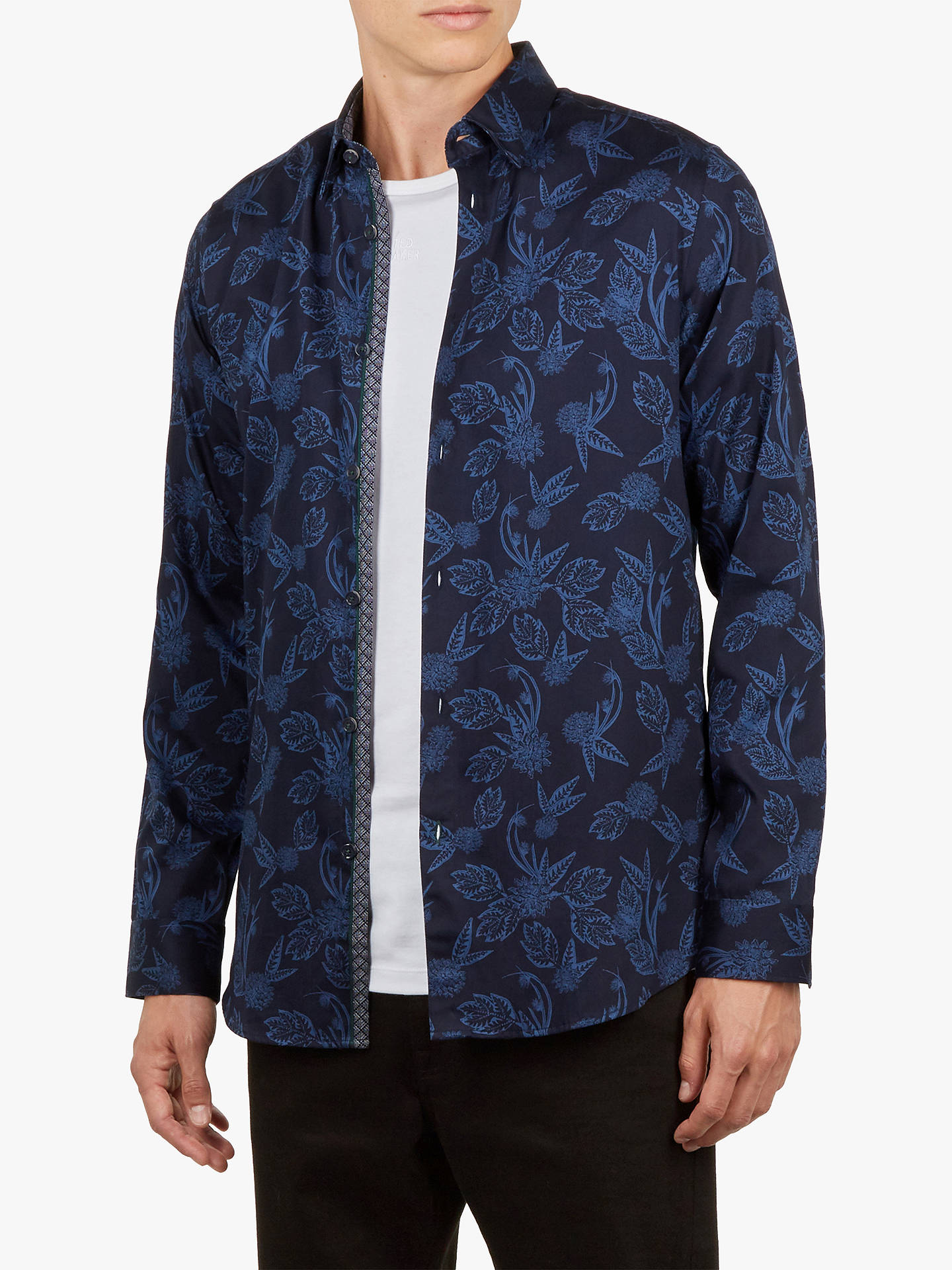 Buy Ted Baker Holborn Long Sleeve Tonal Printed Shirt, Navy Blue, 16.5 Online at johnlewis.com