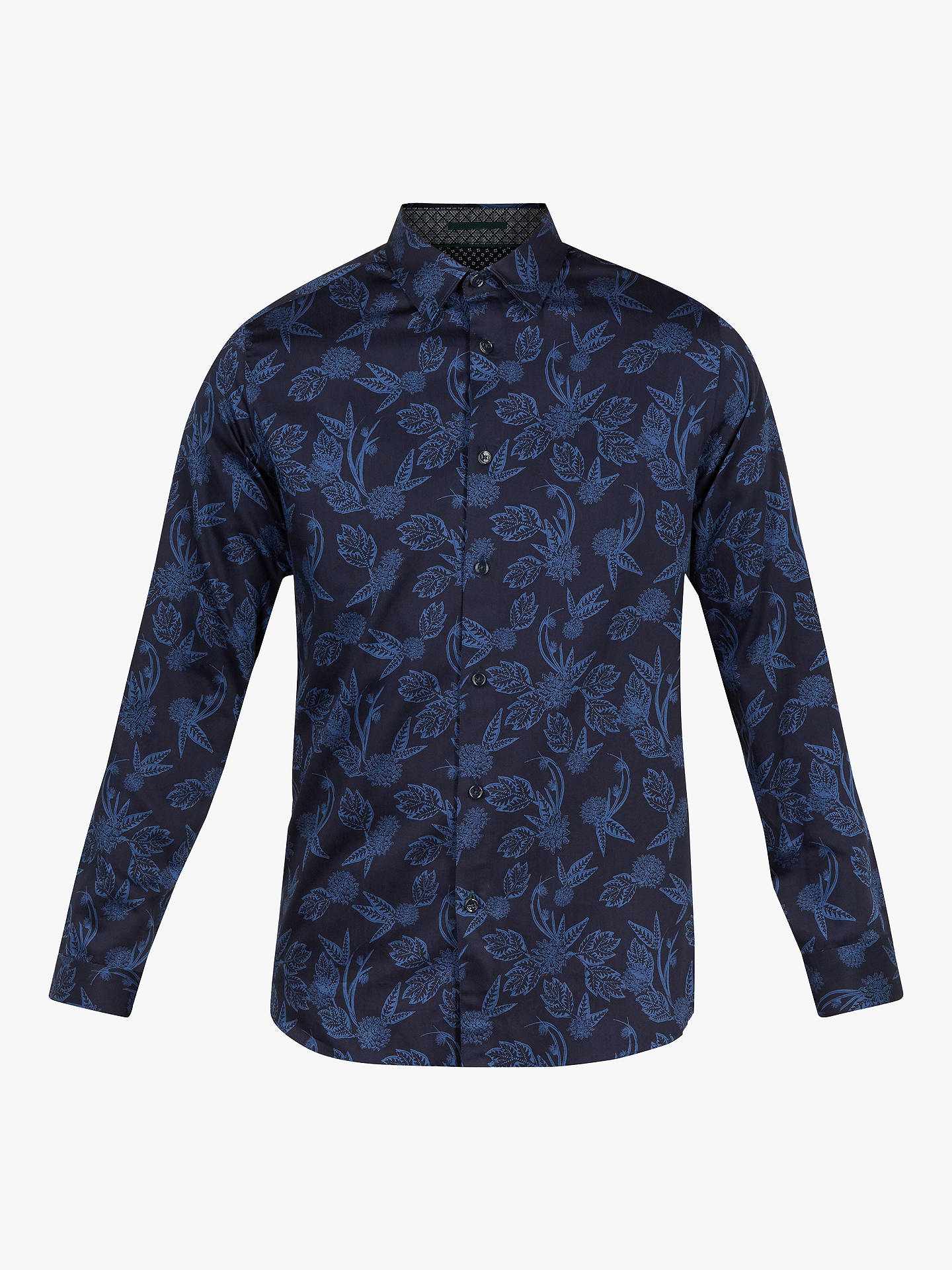 Buy Ted Baker Holborn Long Sleeve Tonal Printed Shirt, Navy Blue, 15 Online at johnlewis.com