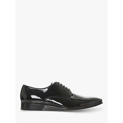 Dune Percival Leather Derby Shoes, Black Patent