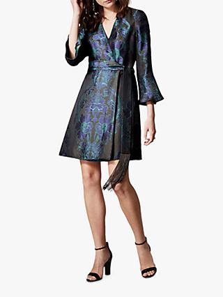 Karen Millen Floral Jacquard Mini Dress, Green/Multi