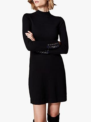 Karen Millen Funnel Neck Knit Dress, Black