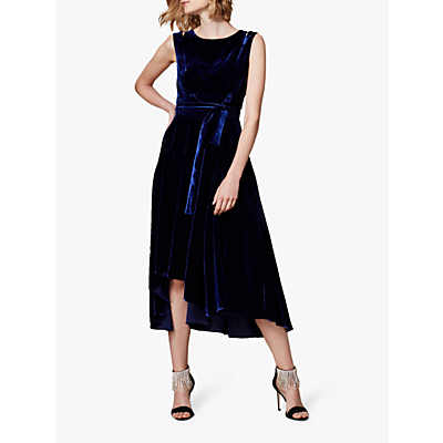 Karen Millen Velvet Asymmetric Belted Dress, Navy