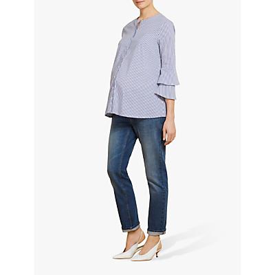 Isabella Oliver Casey Stripe Maternity Shirt, Navy/White