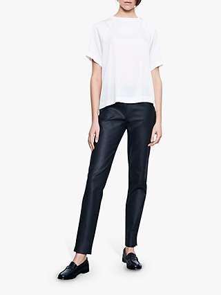 Winser London Waxed Slim Trousers, Black