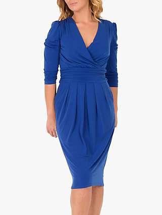 Jolie Moi 3/4 Sleeve Wrap Front Dress