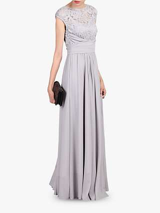 Jolie Moi Lace Bodice Pleated Maxi Dress
