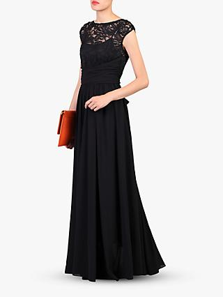 Jolie Moi Lace Bodice Pleated Maxi Dress