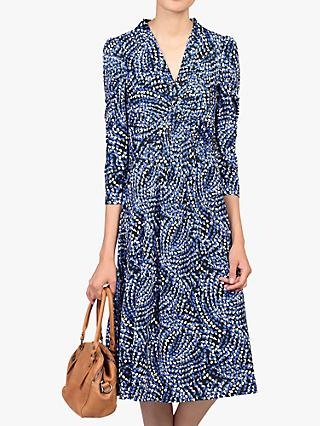Jolie Moi Twist Knot Front Dress, Blue Pattern