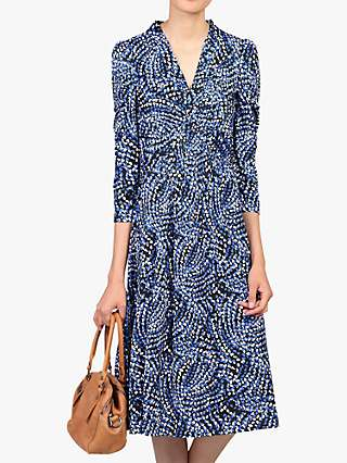 Jolie Moi Twist Knot Front Dress, Blue Pattern