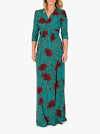 Jolie Moi Floral Print Maxi Dress, Teal Floral