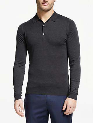 John Smedley Belper Long Sleeve Wool Polo Shirt