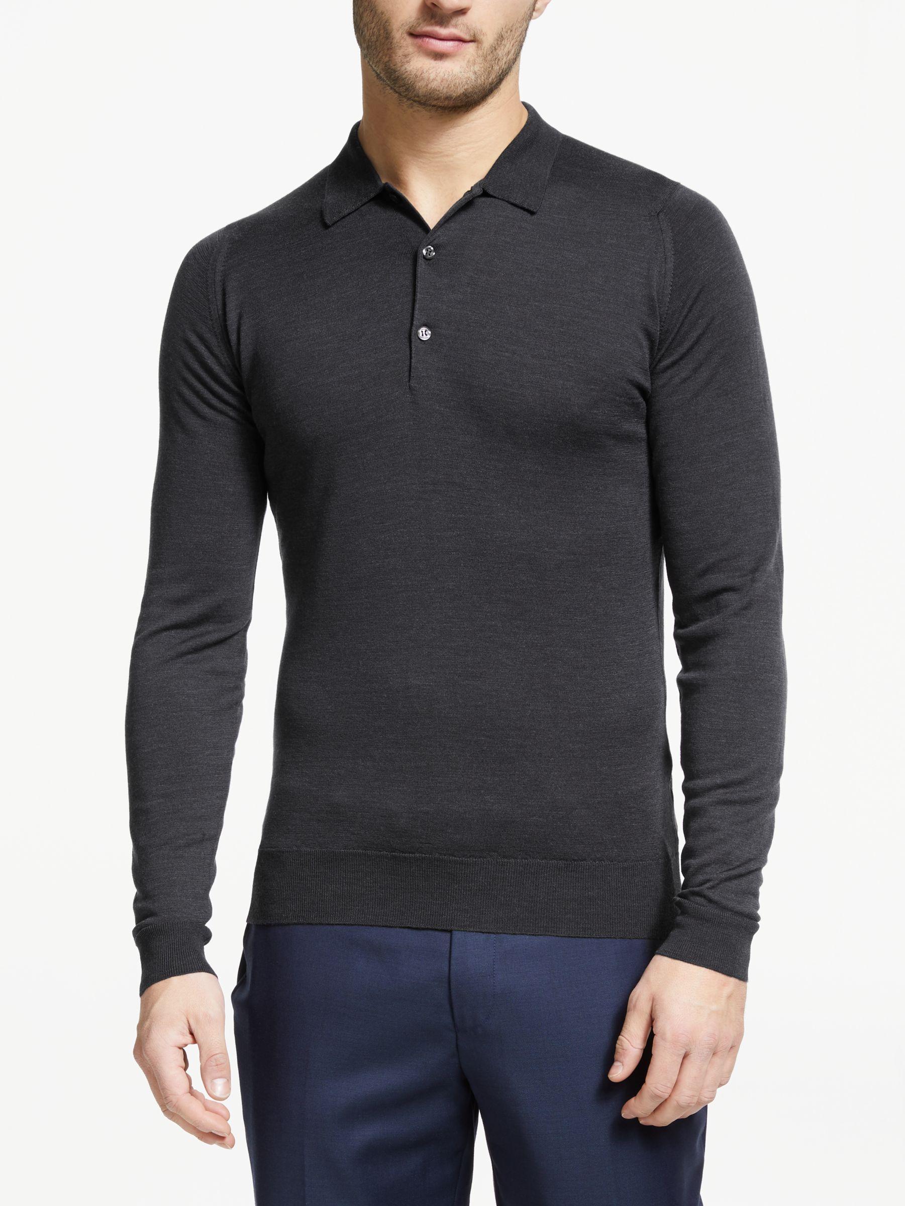 John Smedley John Smedley Belper Long Sleeve Wool Polo Shirt