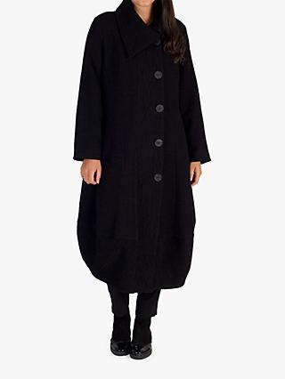 Chesca Heavy Crinkle Button Coat, Black