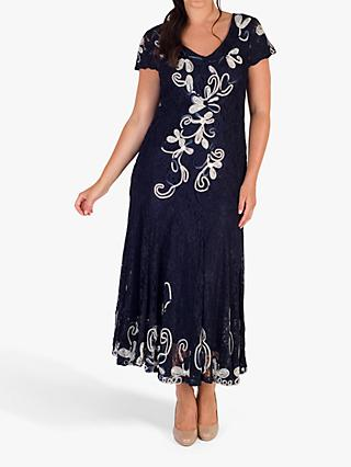 Chesca Cornelli Lace Dress, Navy/Ivory