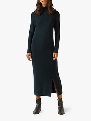 Jigsaw Ribbed High Neck Knitted Dress, Eucalyptus