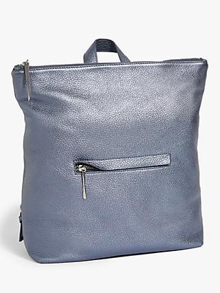 Jigsaw Stevie Metallic Leather Backpack Blue