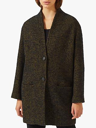 Jigsaw Herringbone Sculpted Coat, Navy