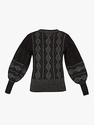 Ted Baker Ulsai Fairisle Balloon Sleeve Jumper, Black