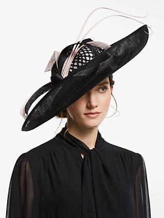 41d9d8c6d0d9fa John Lewis & Partners Christina Large Side Upturn Bow Detail Occasion Hat,  Black/Blush