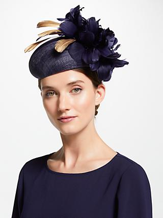 John Lewis & Partners Olivia Pillbox Feather Fascinator, Navy/Gold
