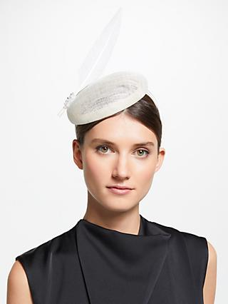 John Lewis & Partners Meghan Pillbox Single Feather Fascinator, Off White