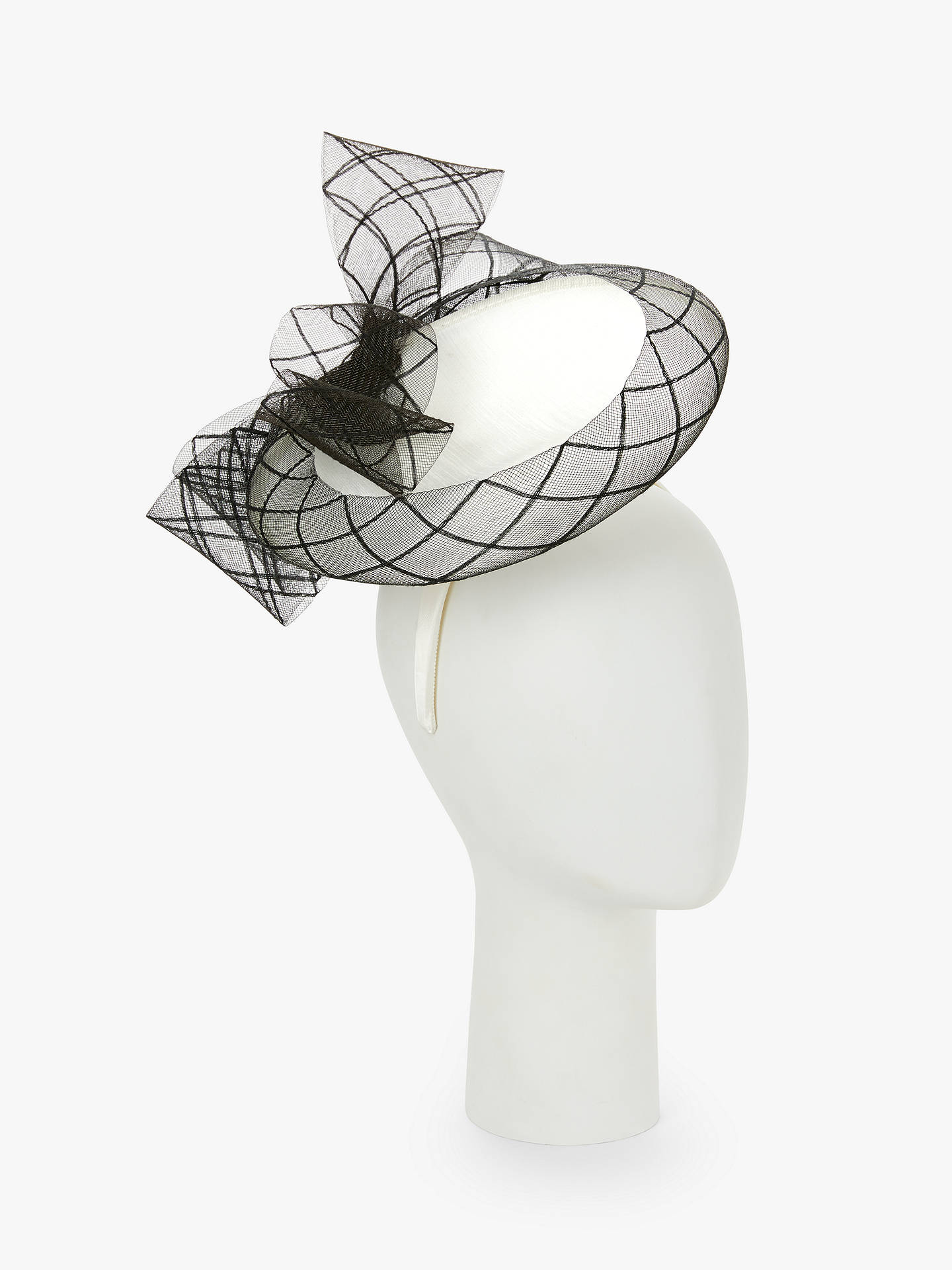 Buy John Lewis & Partners Ava Disc Occasion Hat, Black/White, One Size Online at johnlewis.com