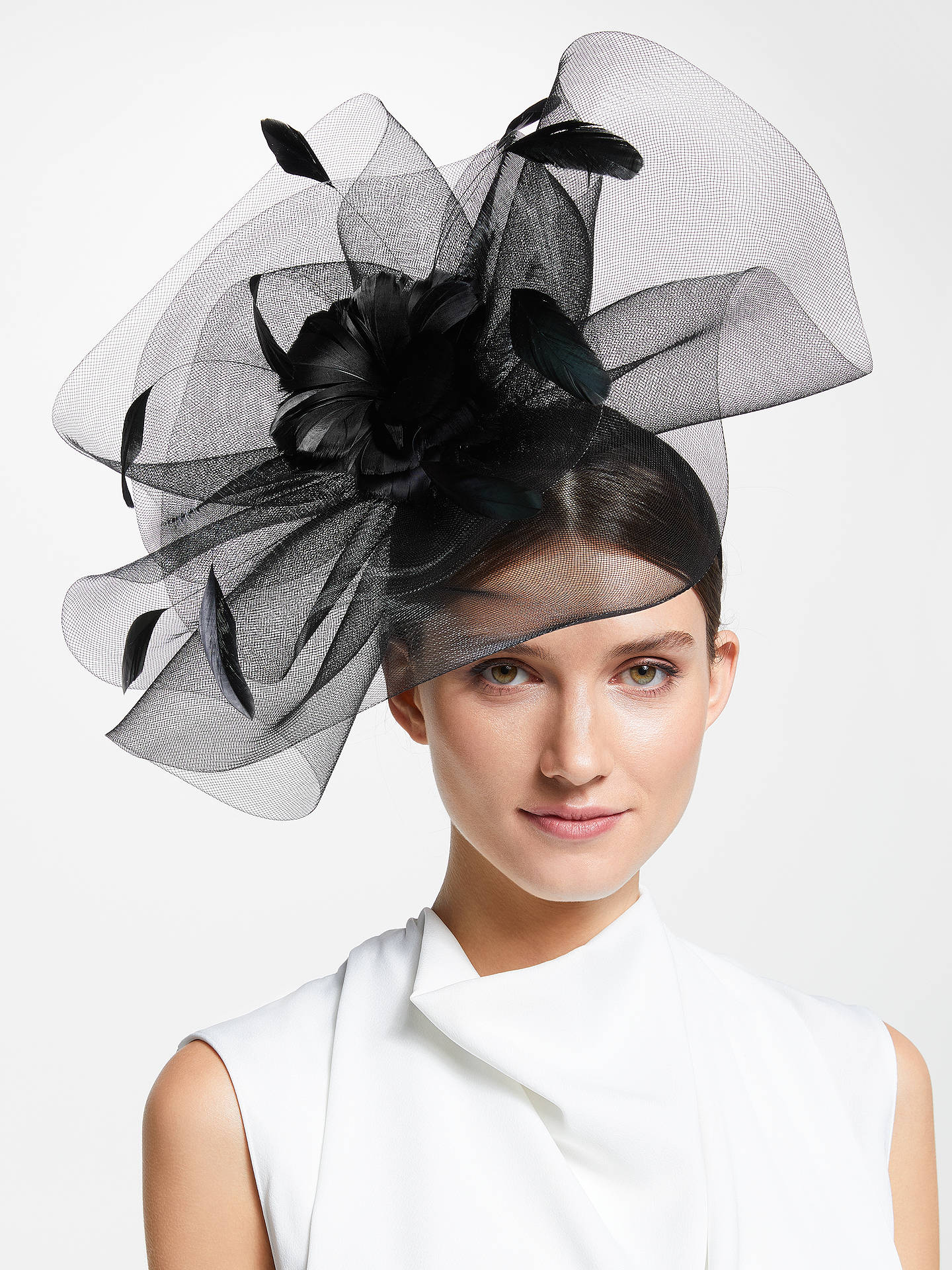 162d1331862d2 Buy John Lewis & Partners Jasmine Feather Mesh Fascinator, Black, One Size  Online at ...
