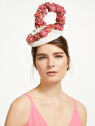 add98915 Bundle MacLaren Millinery Suzy Flower Wall Pillbox Fascinator, Ivory/Pink