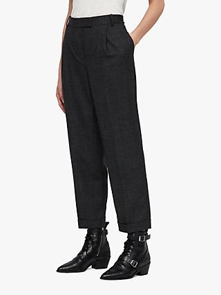 AllSaints Harriett Check Boyfriend Trousers, Charcoal