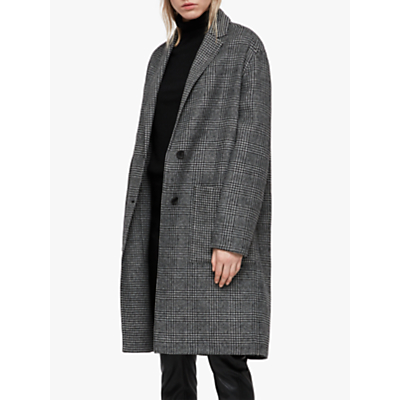 AllSaints Anya Dogtooth Check Coat, Black/White