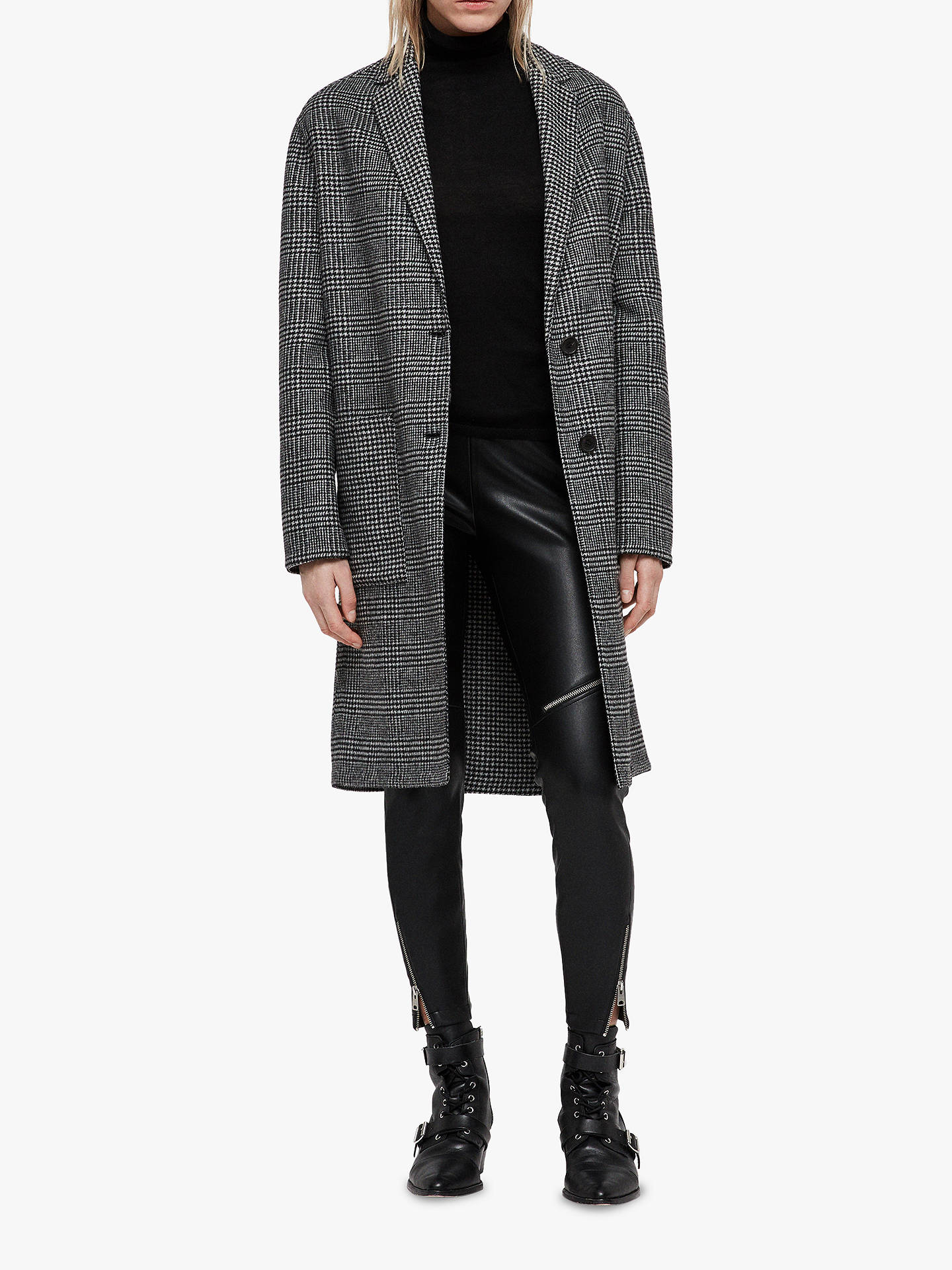 Buy AllSaints Anya Dogtooth Check Coat, Black/White, S Online at johnlewis.com