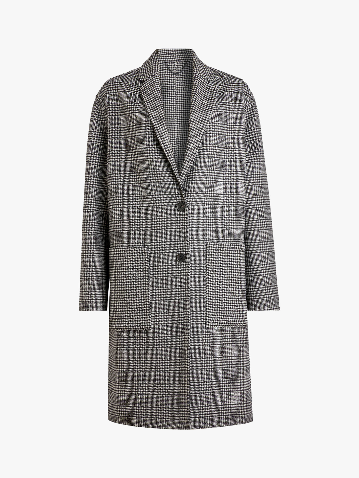 BuyAllSaints Anya Dogtooth Check Coat, Black/White, S Online at johnlewis.com