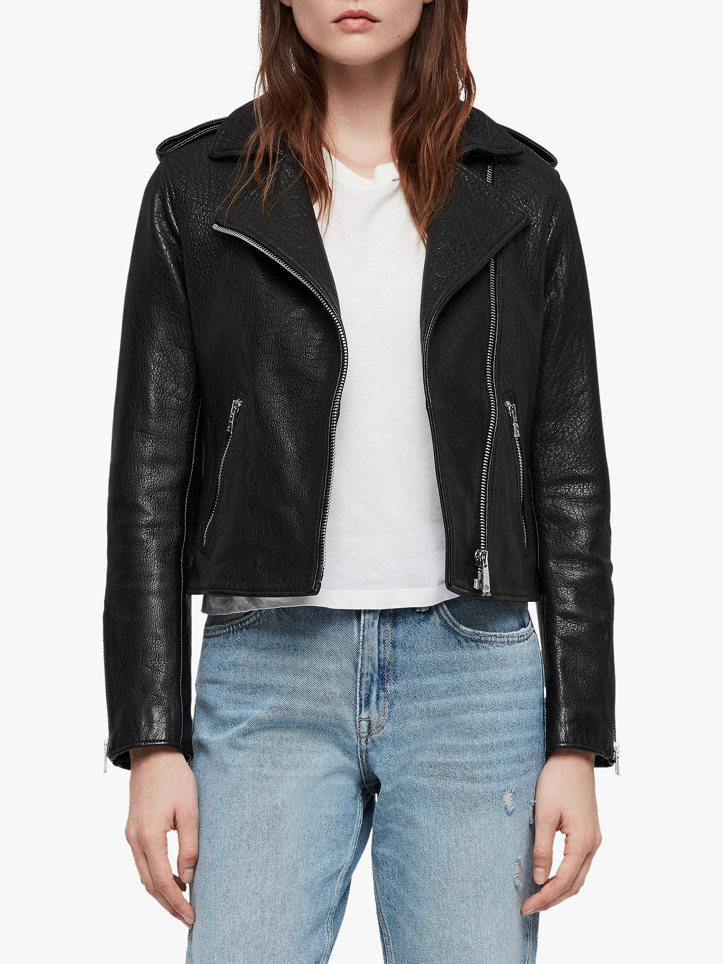 BuyAllSaints Leather Hadi Biker Jacket, Black, 10 Online at johnlewis.com
