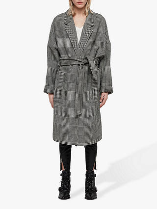 Buy AllSaints Lara Check Coat, Black/White, M Online at johnlewis.com