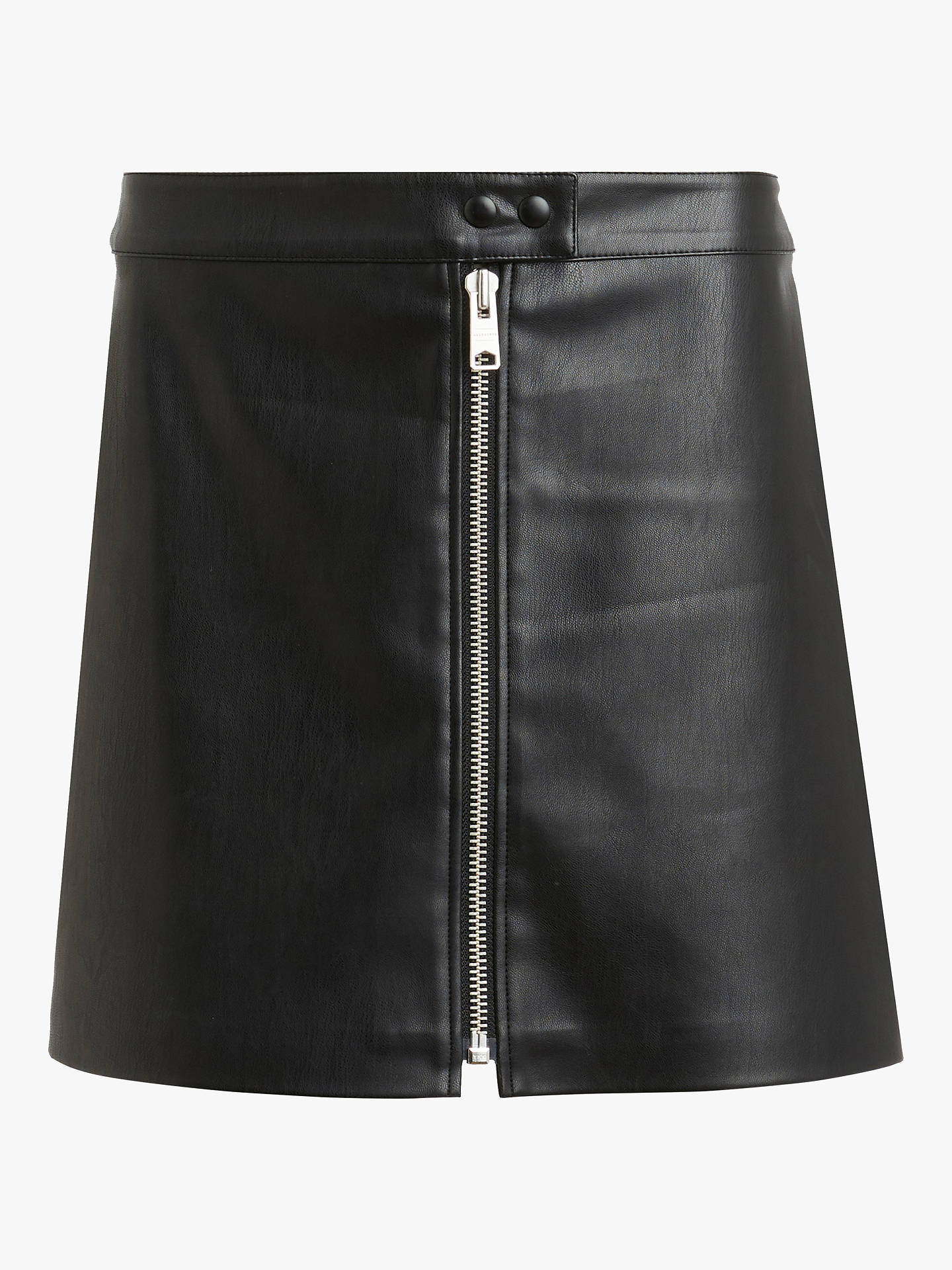 BuyAllSaints Lena Stud Leather Skirt, Black, 10 Online at johnlewis.com