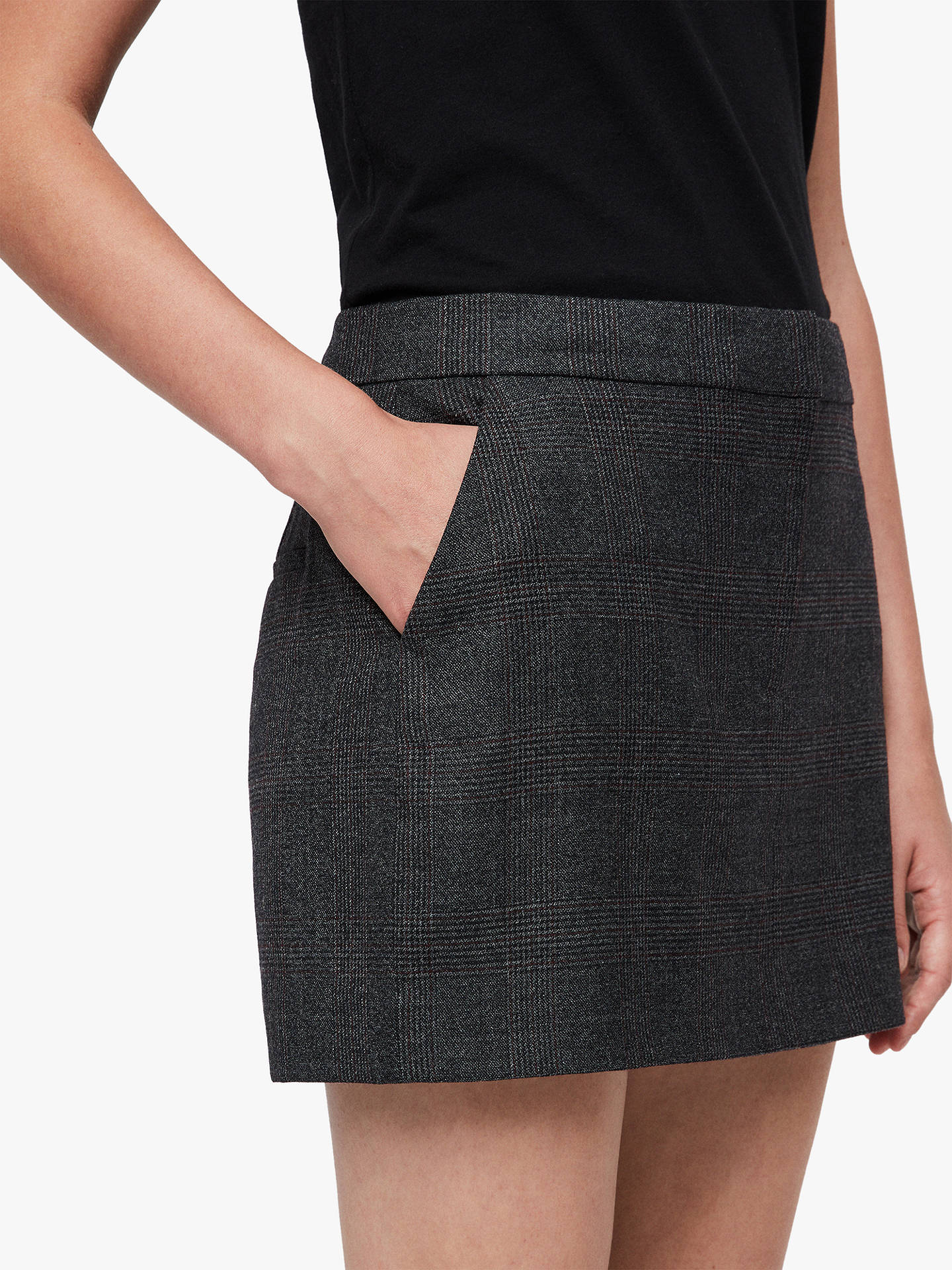 Buy AllSaints Harriet Check Skirt, Charcoal Grey, 10 Online at johnlewis.com