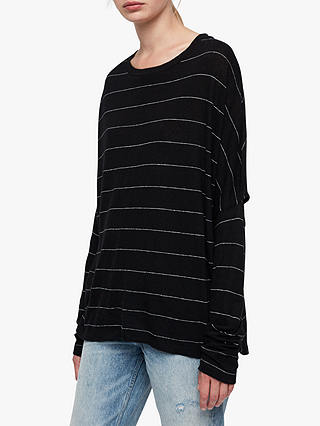 Buy AllSaints Wave Long Sleeve T-Shirt, Black/Chalk White, M Online at johnlewis.com