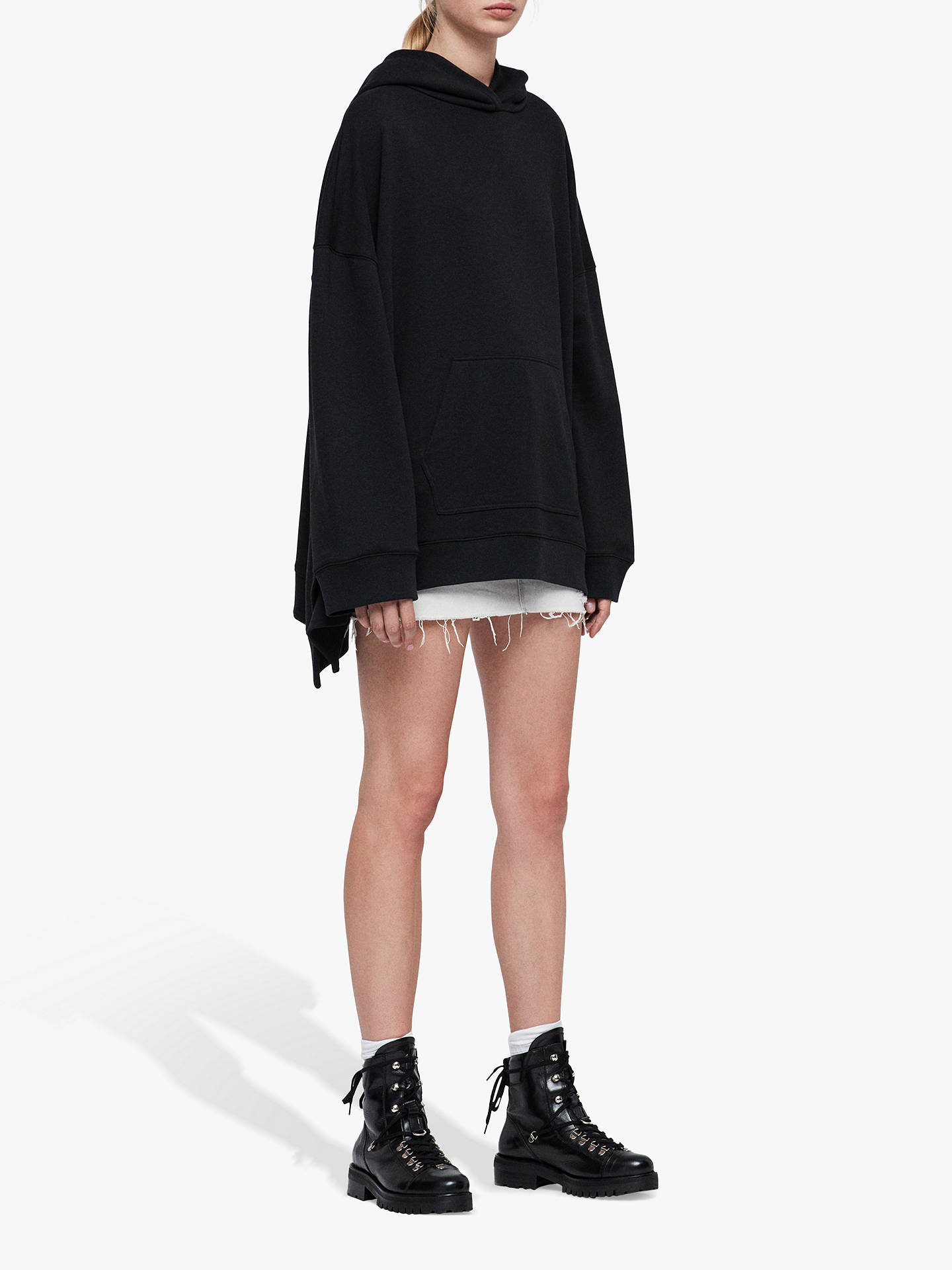 BuyAllSaints Harmon Oversized Hoodie, Jet Black, XS-S Online at johnlewis.com