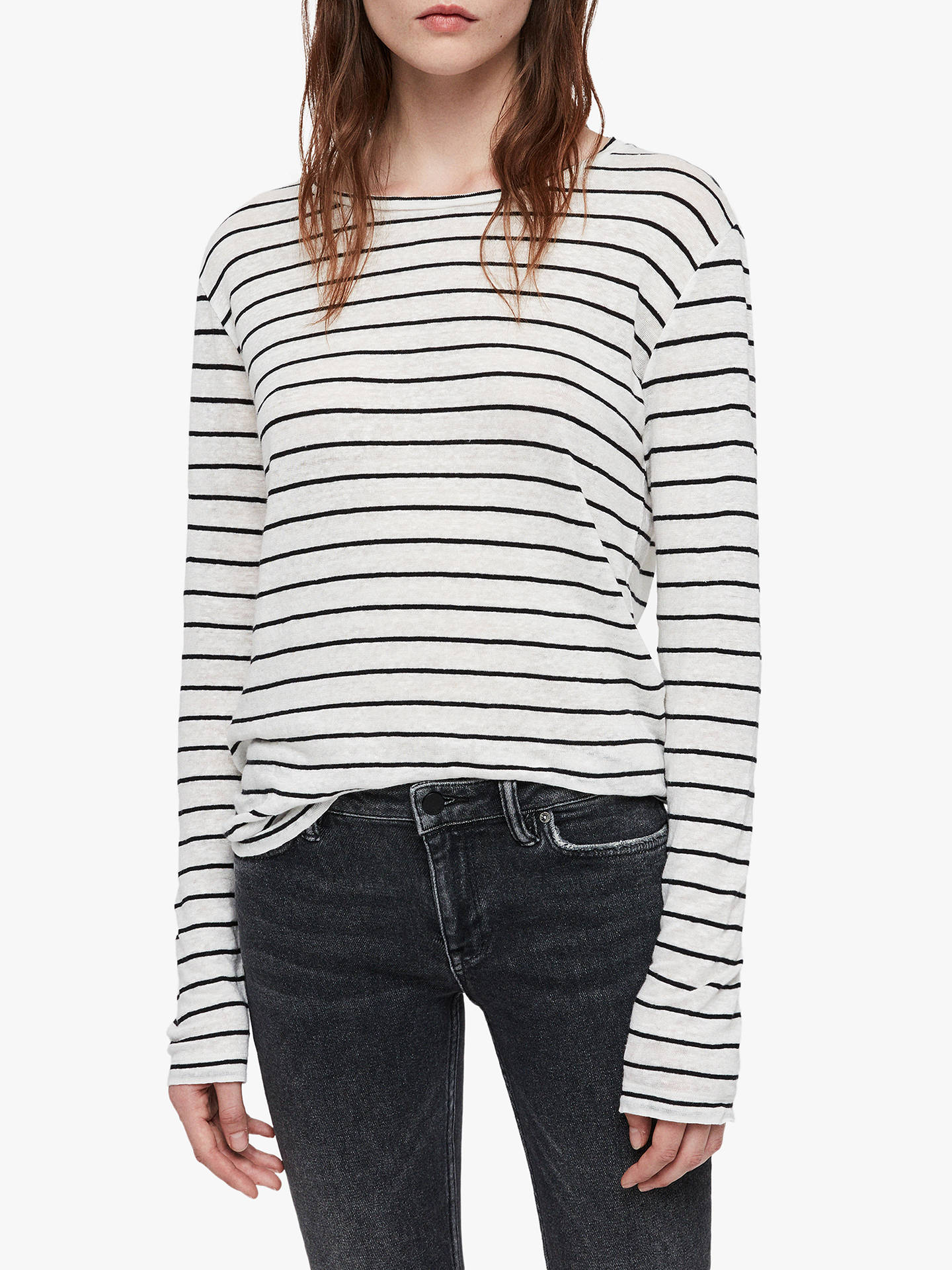 BuyAllSaints Esme Breton Long Sleeve Stripe T-Shirt, Chalk White/Black, XS Online at johnlewis.com