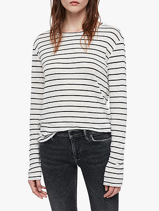 Buy AllSaints Esme Breton Long Sleeve Stripe T-Shirt, Chalk White/Black, XS Online at johnlewis.com