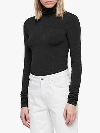 Buy AllSaints Esme Long Sleeve Shimmer Top, Charcoal Marl, L Online at johnlewis.com