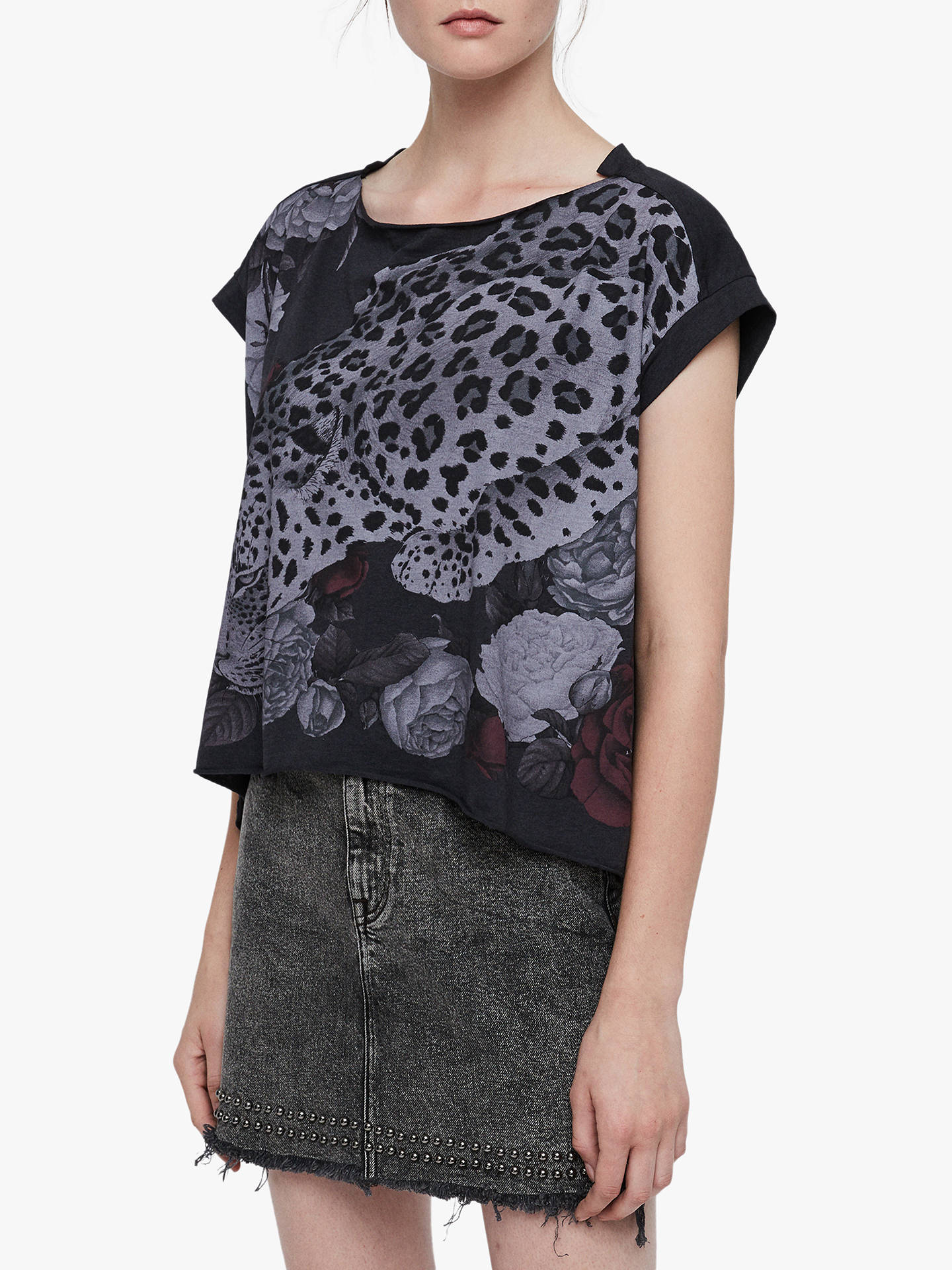 Buy AllSaints Asha Pina T-Shirt, Dark Night Blue, S Online at johnlewis.com
